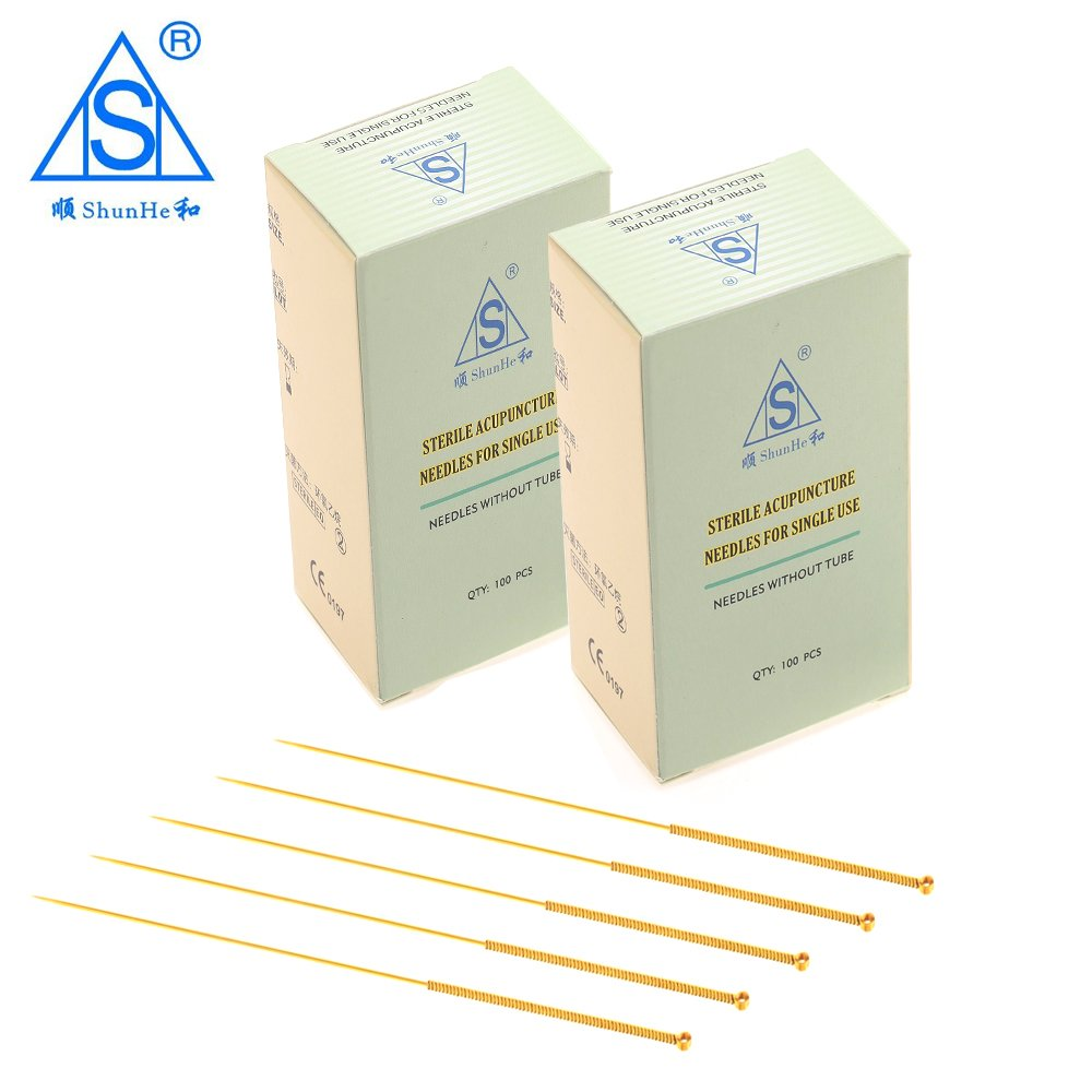 Gold Plated Acupuncture Needle without Tube Dialysis Paper Package 100pcs/box